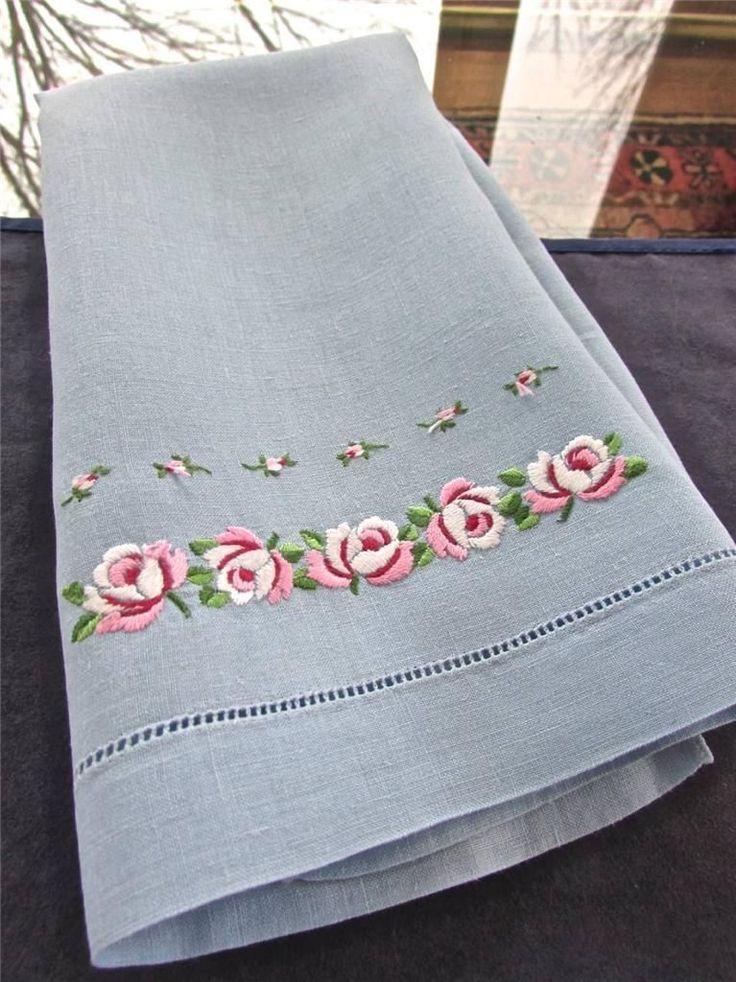 Vintage Light Blue Linen Hand Embroidered Satin Stitch Pink Roses Guest Towel EC   eBay