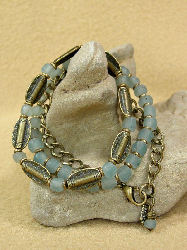 Beaded Bracelet - Tribal Bracelet - Stretch Bracelets - Chain Bracelet - Glass Bead Bracelet. $39.00, via Etsy.