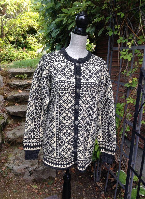 Gray Figgjo Norwegian wool sweater made in by VikingRaids on Etsy