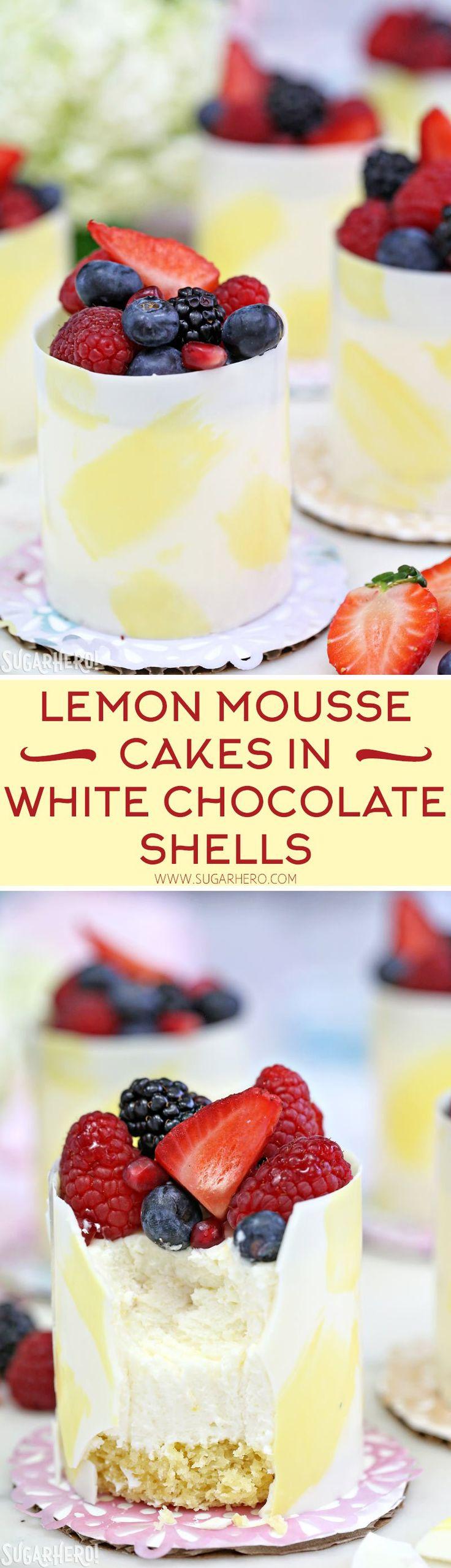 Lemon Mousse Cakes in White Chocolate Shells - lemon mousse in gorgeous painted white chocolate shells! | From SugarHero.com