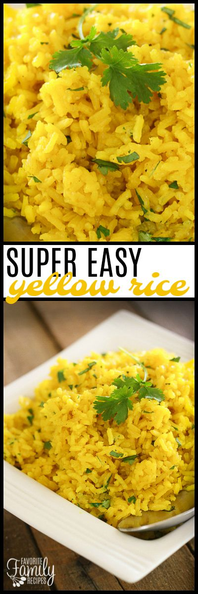 This Easy Yellow Rice side dish complements just about any meal! You can make this on the stove-top or in the rice cooker. So tasty! via @favfamilyrecipz