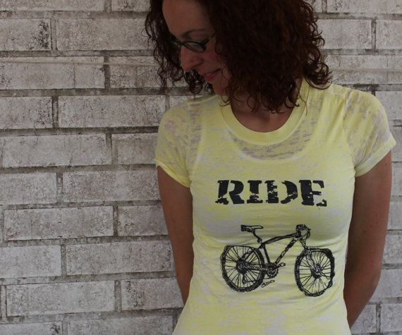 Ladies Mountain Bike Tshirt Bicycle and text by CausticThreads, $28.00