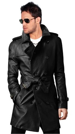 Raglan Sleeved Cozy Mens Leather Trench Coat