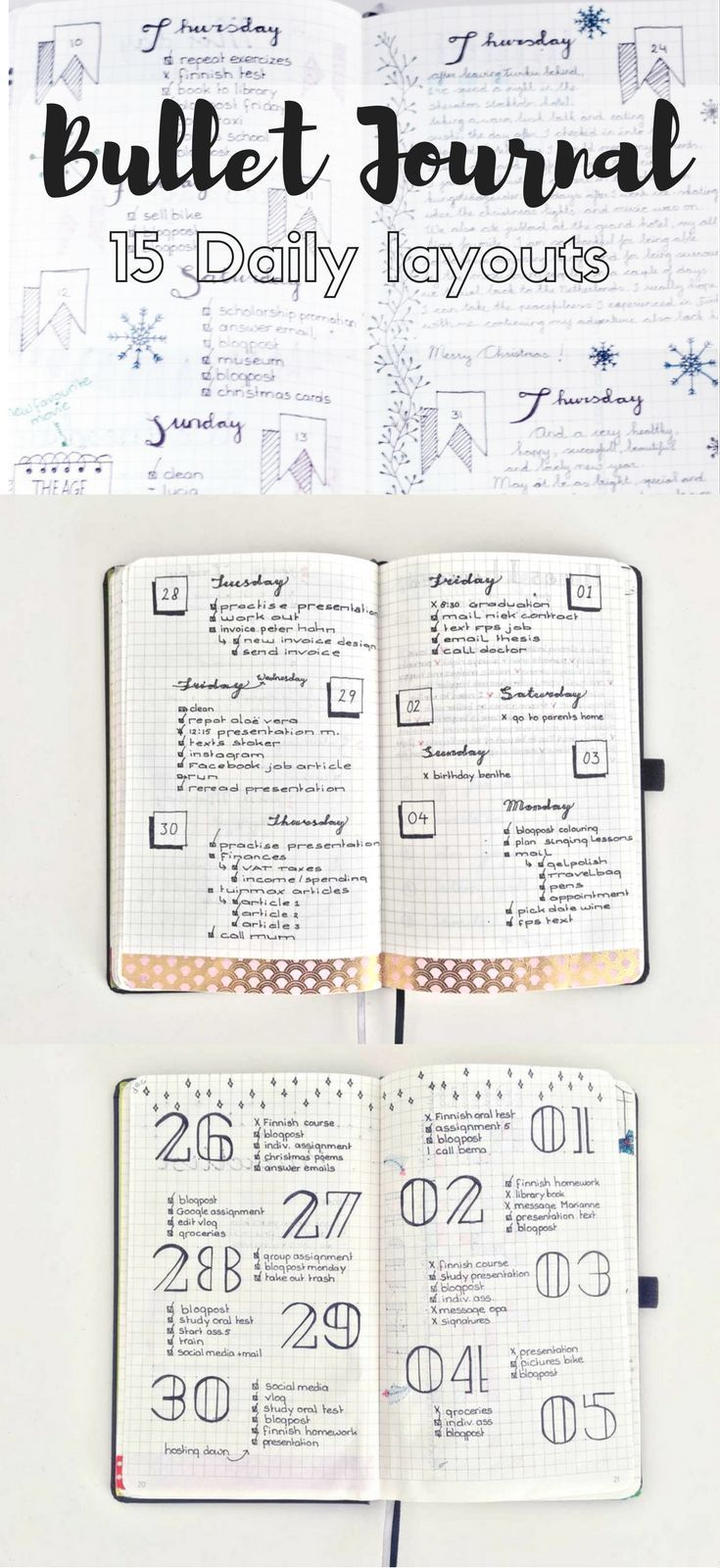 15 Diffferent Daily layouts for the Bullet Journal.