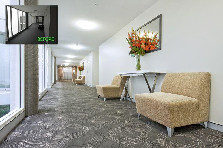 Corporate hotel hallway