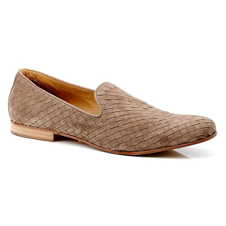 Mens Casual Shoes - Aquila Uriah Taupe - Woven Suede Loafer