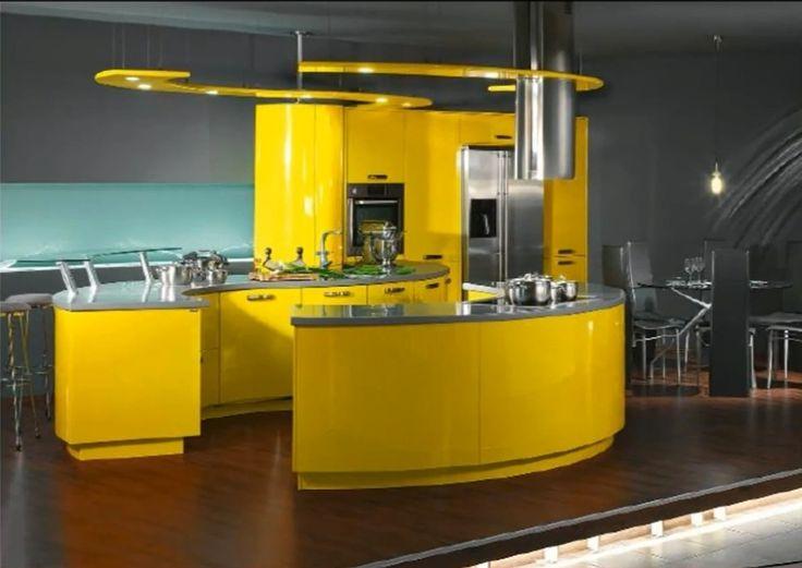 45 Cozinhas Americanas Com Ilha Em Curva Ou Circular! Maravilhosas!!! Yellow  KitchensModern KitchensDream KitchensModern Kitchen DesignYellow ... Part 52