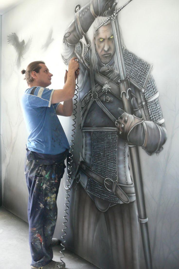 The witcher, malowanie wiedźmina, mural.