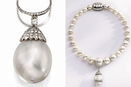 The natural pearl together with Cartier's diamond necklace once given to the Duke of Windsor by Queen Mary. Containing 28 natural pearls, the beaming necklace is spherical in form with a diamond clutch.