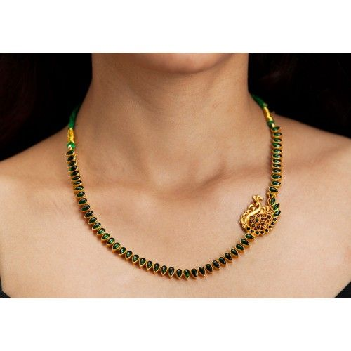 Temple jewellery Silver gold plated green enamel necklace with peacock pendant…