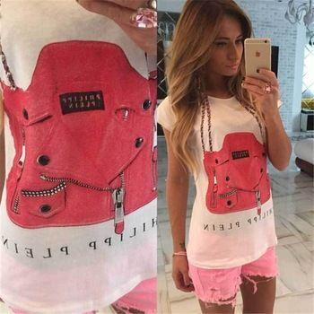 Hot Sale Women Cotton Short Sleeve T shirts New Cartoon 3D Bag Letter Print Tshirt Female Slim O-neck Design Black White T-shirt