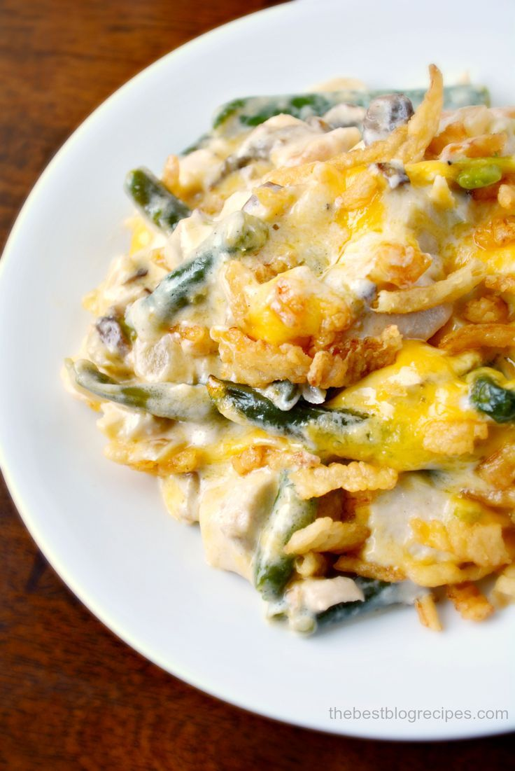 Creamy Cheesy Chicken and Green Bean Casserole Recipe. the perfect recipe if you need to feed a crowd during the holidays!