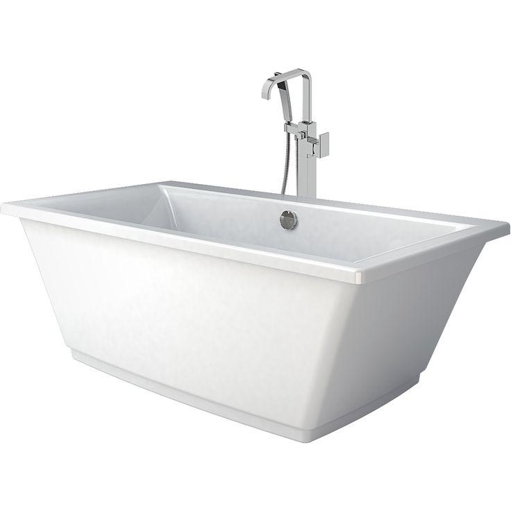 Jacuzzi FIA White Acrylic Rectangular Freestanding Bathtub