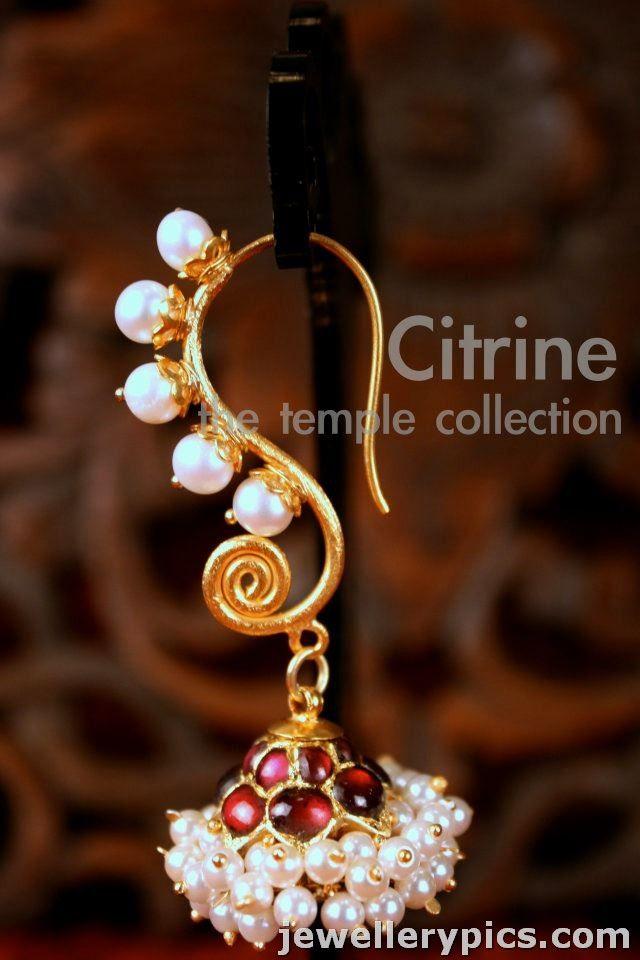 Gold designer jhumka   buttalu with pearls-rubies-emaralds-diamond from citrine jewellers - Latest Jewellery Designs