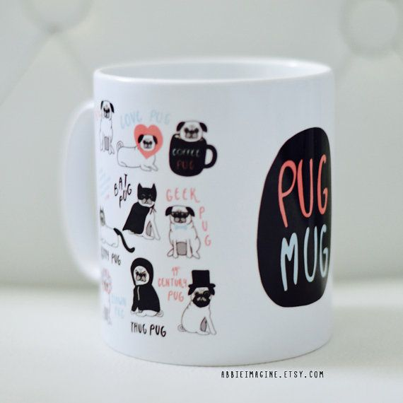 Because everyone needs a pug mug in their life! This cute dog loving mug makes the perfect Christmas gift or stocking filler for pug lovers of any age; for her, for him, for kids or even a special treat for yourself!  A 10oz (standard mug size!) ceramic mug featuring illustrations of different pugs to get you through the day, including geek pug, clown pug and my personal favourite, Batpug! Take a look at our other mugs here…