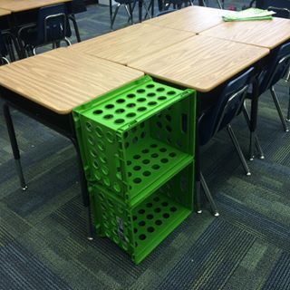 Use crates to make a supply station for each group of desks. | 35 Cheap And Ingenious Ways To Have The Best Classroom Ever