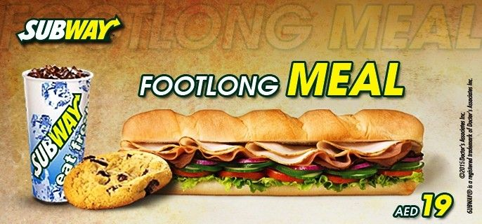 You are just one click away from a #FootlongMeal of your choice for only AED 19 at #Subway... #Dubai #UAE #Food #Dining  Get Deal: http://www.hitthedeals.com/dubai/today-s-deal/subway-footlong-meal-4.html