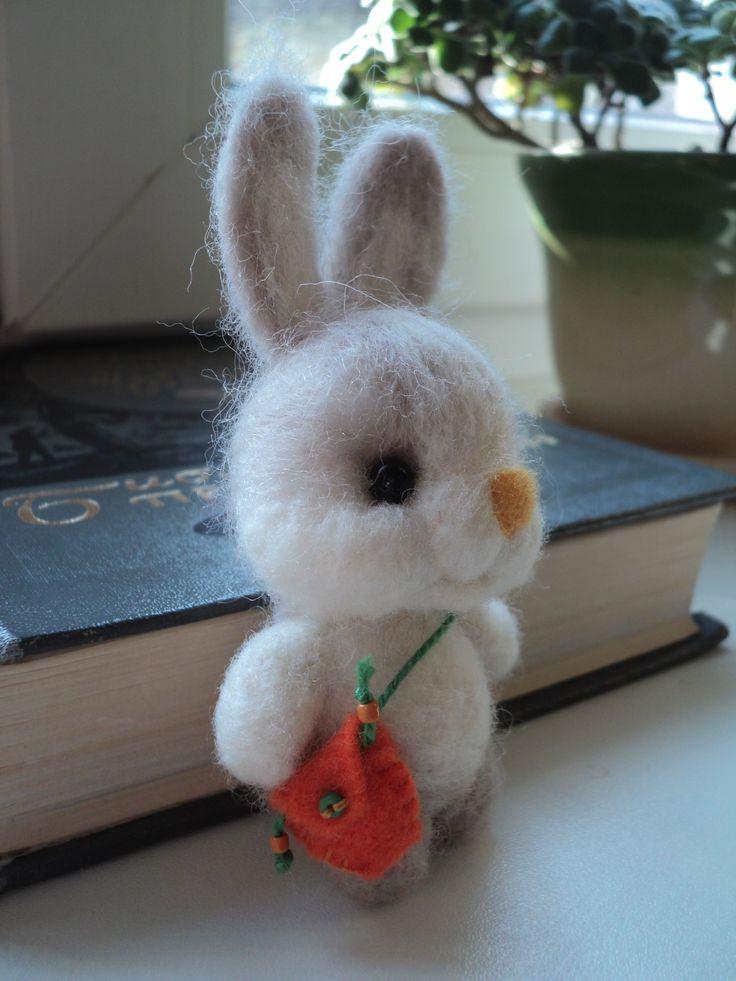 Handmade toy bunny with bag
