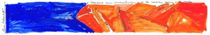 """Massimiliano Fuksas, """"Scalare una montagna e la sabbia rossa sulle scarpe"""", Roma 4 Aprile 2001 Olio su carta da lucido, 210x35 cm Copyright: Massimiliano Fuksas Courtesy: Collezione Francesco Moschini e Gabriel Vaduva A.A.M. Architettura Arte Moderna #sketch"""