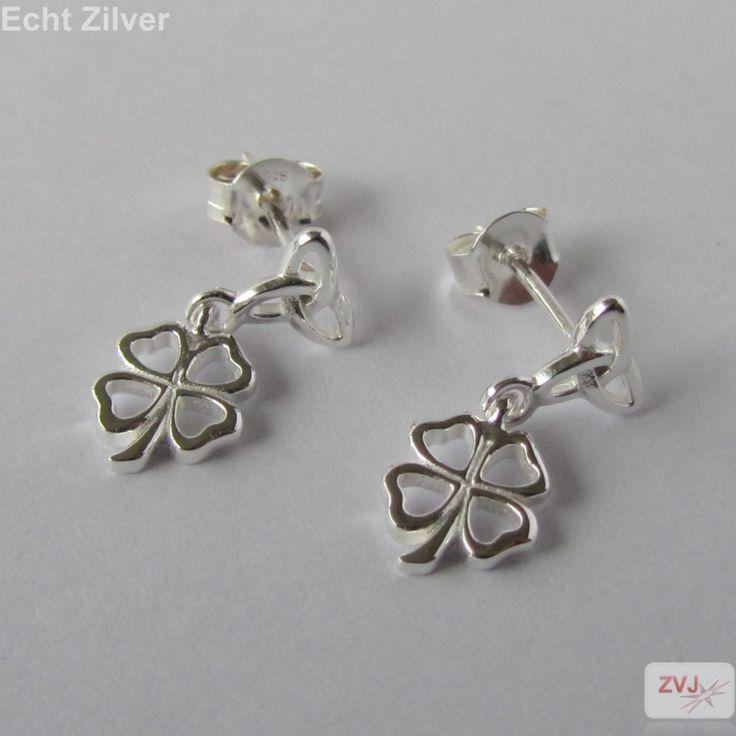 Zilveren keltische knoop klaver vier geluksoorbellen - ZilverVoorJou Echt 925 zilveren sieraden