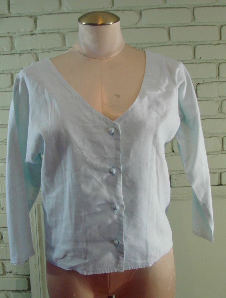 Vintage Catherine Ogust Penthouse Gallery light Blue Cotton jacket S 36 Bust #CatherineOgust #BasicJacket