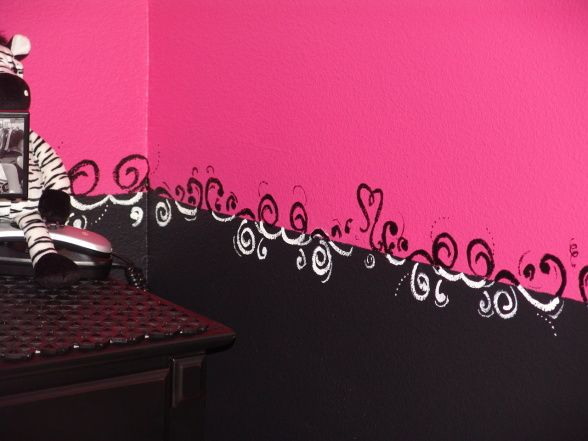 Pink And Black Teen Zebra Girls Bedroom, Pink And Black Girlie Teen Zebra  Bedroom, Another Close Up Of The Swirly Border. Part 37