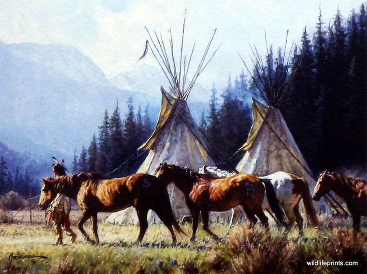"It's A NEW DAY for this Native American warrior. He takes his horses past his tepees with the mountainous background behind him. This print is available in an unframed image size of 12""x9""."