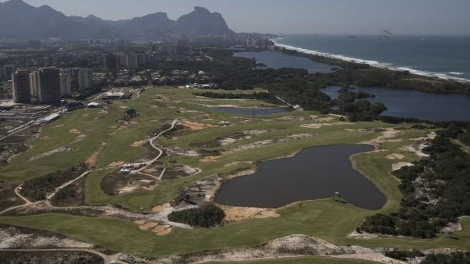 Aerial view of the Olympic Golf Course in Rio de Janeiro, Brazil