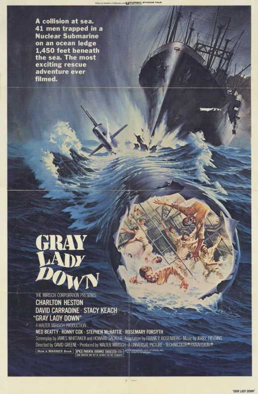 Gray Lady Down (1977) Charlton Heston stars in this riveting drama involving a nuclear submarine and her crew trapped 1,450 feet underwater. When the nuclear sub U.S.S. Neptune collides with a Norwegi
