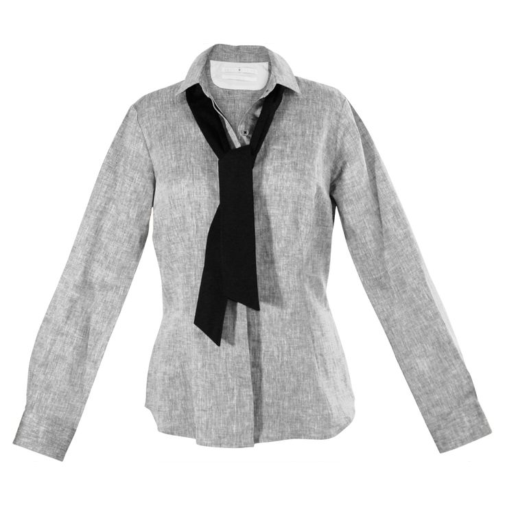 An informal yet fashion-forward tie tops off this versatile white workshirt. Give it a necktie knot for that menswear look, or a loopy, oversized bow for a more feminine air. Black tuxedo buttons are the crowning touch. http://www.byariane.com.au/Louka-Long