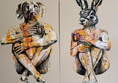 Gillie and Marc 'Their Better Halves' - acrylic on canvas – Angela Tandori Fine Art