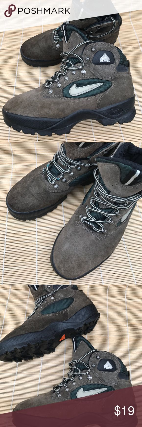Nike Hiking Boots size 8 These are woman's Hiking Boots size 8. (I am an 8 and they fit me). They have been worn and are still in pretty good shape - heel good, tread good, just slight evidence of wear on the suede upper toe area (and Im being picky). Nike Shoes Lace Up Boots
