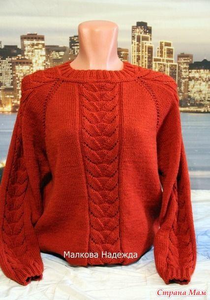 d7b1e4ef71b Терракотовый пуловер спицами. Реглан сверху - Вязание - Страна Мам ...