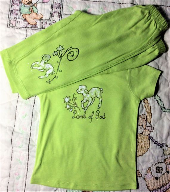 Lamb of God 6M Lime Green Pant and T Shirt Set