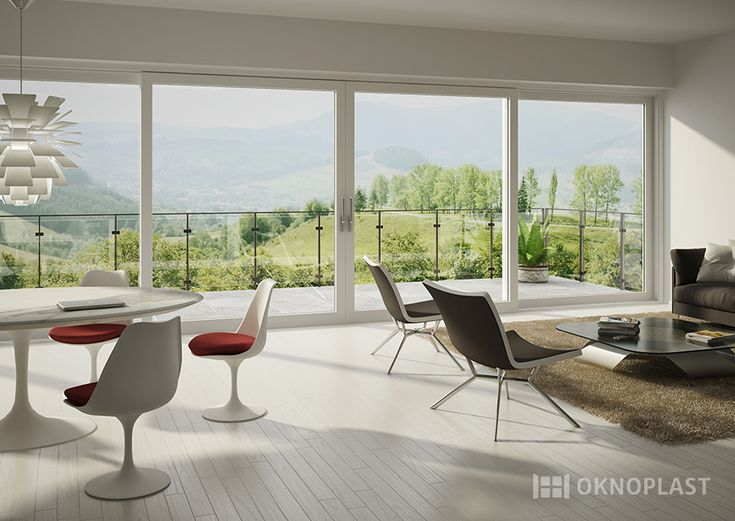 Modern villa with panoramic sliding door by Oknoplast #interior design #windows #finestre #design #oknoplast #HST