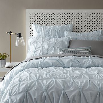 Organic Cotton Pintuck Duvet Cover + Shams - Clearwater #westelm