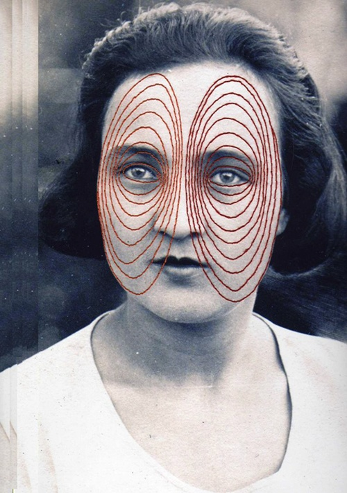 Flore Gardner Eyes [Red Stitch], 2012 Embroidered photograph