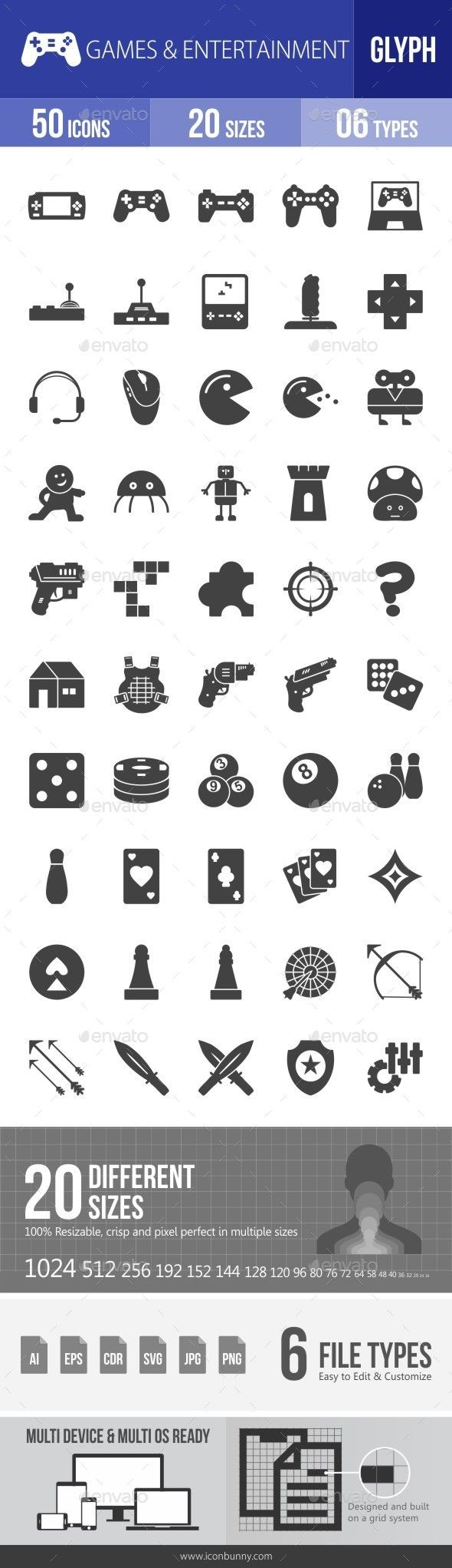 Games & Entertainment Glyph Icons