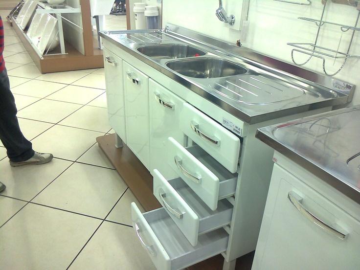 Pia Gabinete em aço com 2 portas e 4 gavetas, com tampo de inox com duplo boj -> Gabinete De Banheiro Duplo