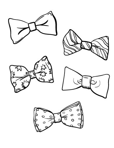 Printable bow tie coloring page. Free PDF download at http ...