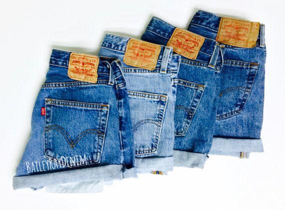 Levis High Waisted Cuffed Denim Shorts Rolled Up Denim Shorts Plain Jean Shorts