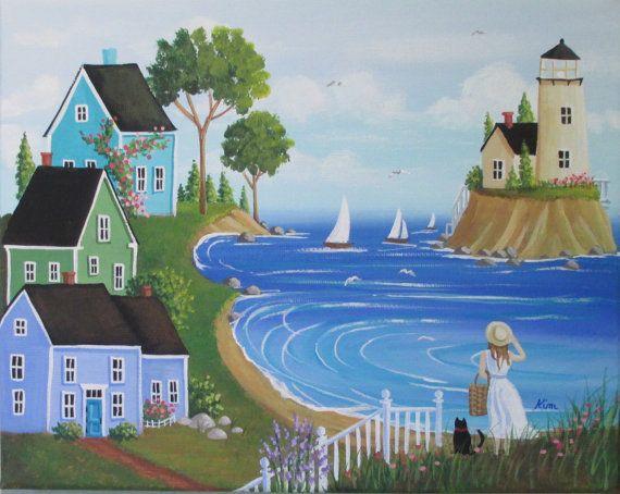 Seashell Collector Folk Art Print di KimsCottageArt su Etsy