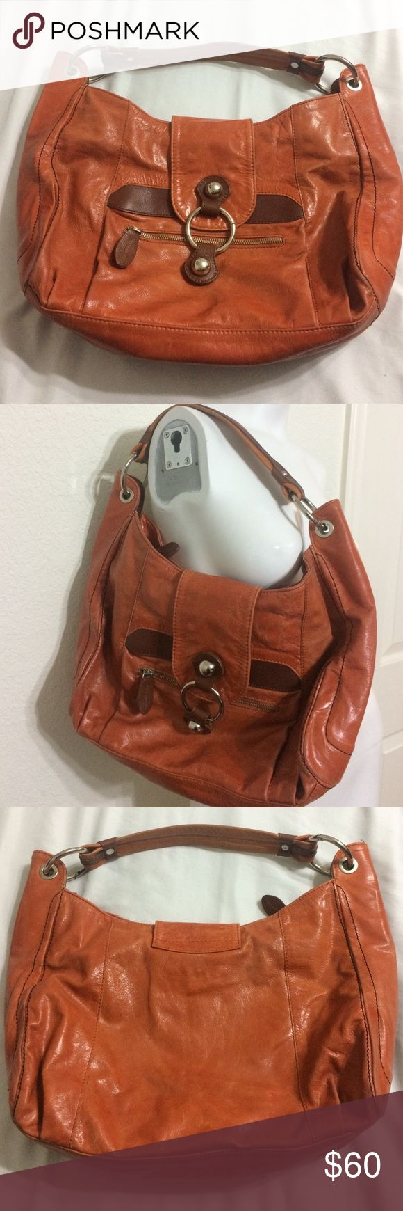 ❗weekend sale ❗was $28 Tano Leather Hobo Handbag Beautiful orange/brown leather handbag, slightly worn, silver tone hardware, wrinkling effect on the leather to look aged. Tano Bags Hobos