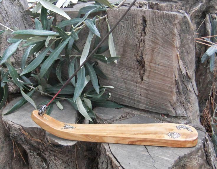 Incense Burner, holder with silver inlays, hand carved from olive wood by ellenisworkshop on Etsy