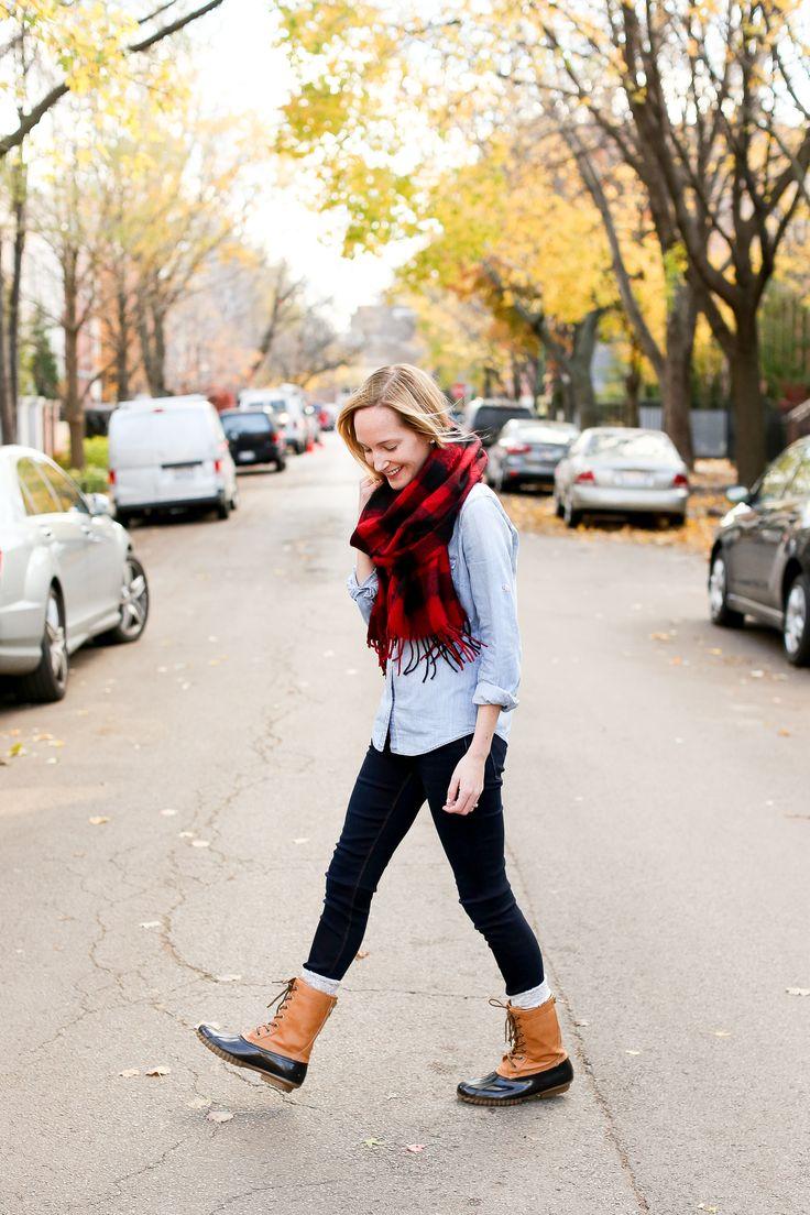 Buffalo plaid scarf, chambray shirt, duck boots