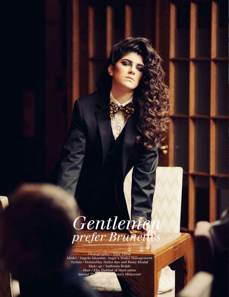 Editorial for LIVID Magazine 'Gentlemen prefer Brunettes'  Model: Angela Iskandar MUA: Anthonida Bejide Hair: Elio of Starz Salon Photographer: Kaja Tirrul Stylist: DonnaMay Stylist + Ramy Khalaf Clothing: Stephanos Menswear