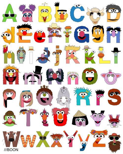Mike BaBoon Design: this website has a ton of alphabets - sesame, muppets, harry potter, pixar, etc.