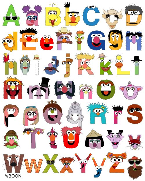 A Sesame Street alphabet by Mike Boon, in which A is for Abby Cadabby, B is for Big Bird, and C is for Cookie Monster. Prints and more are available through the source.