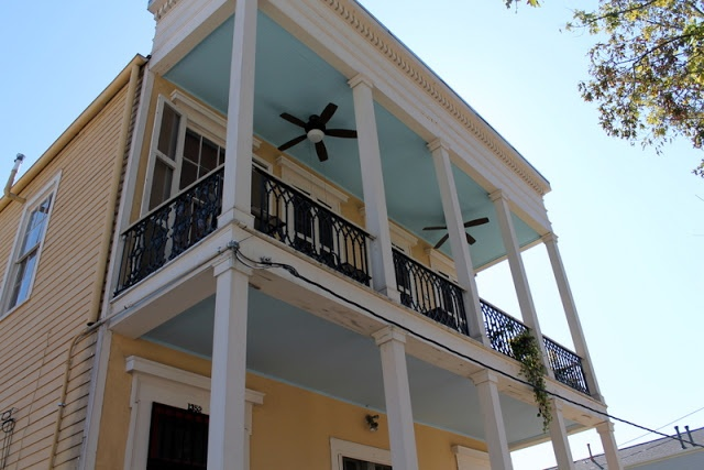 The pretty pastels of a New Orleans porch