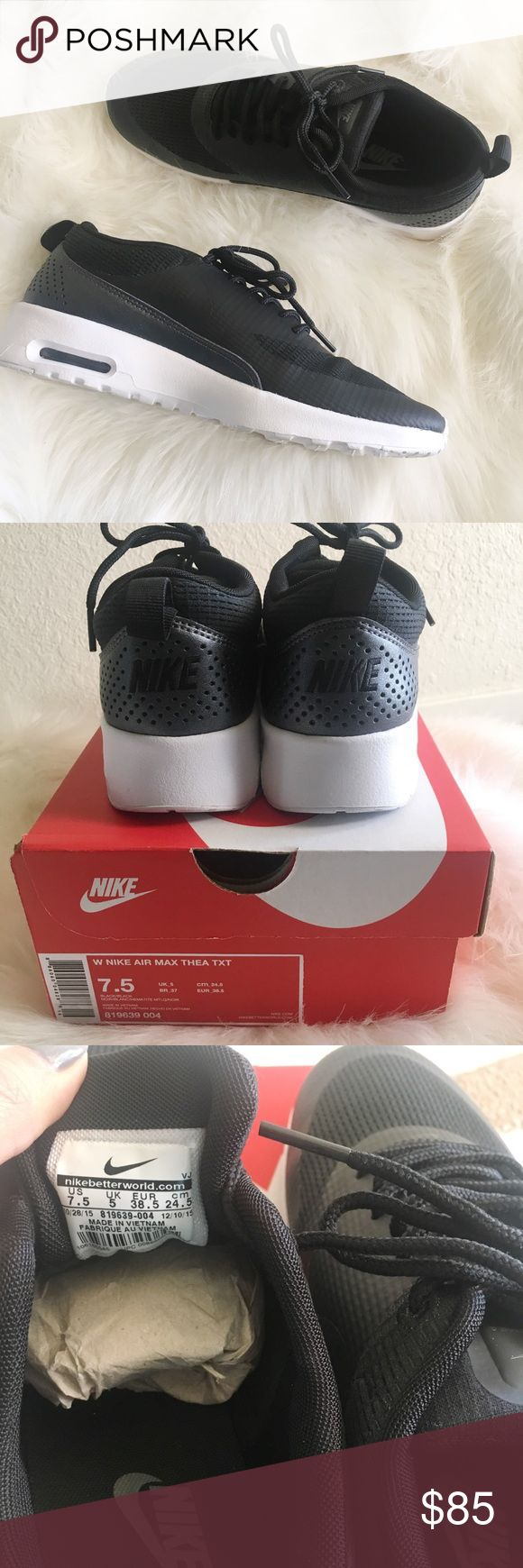 Nike Air Max Thea Textile Sneaker Wore these to try on outside for literally one minute. Brand new with box. Black. Size 7.5. Purchased on urban outfitters, but didn't like how they looked on me. Price firm- I'd like to get the money I paid back but if not, I'll just return for store credit. Nike Shoes Sneakers